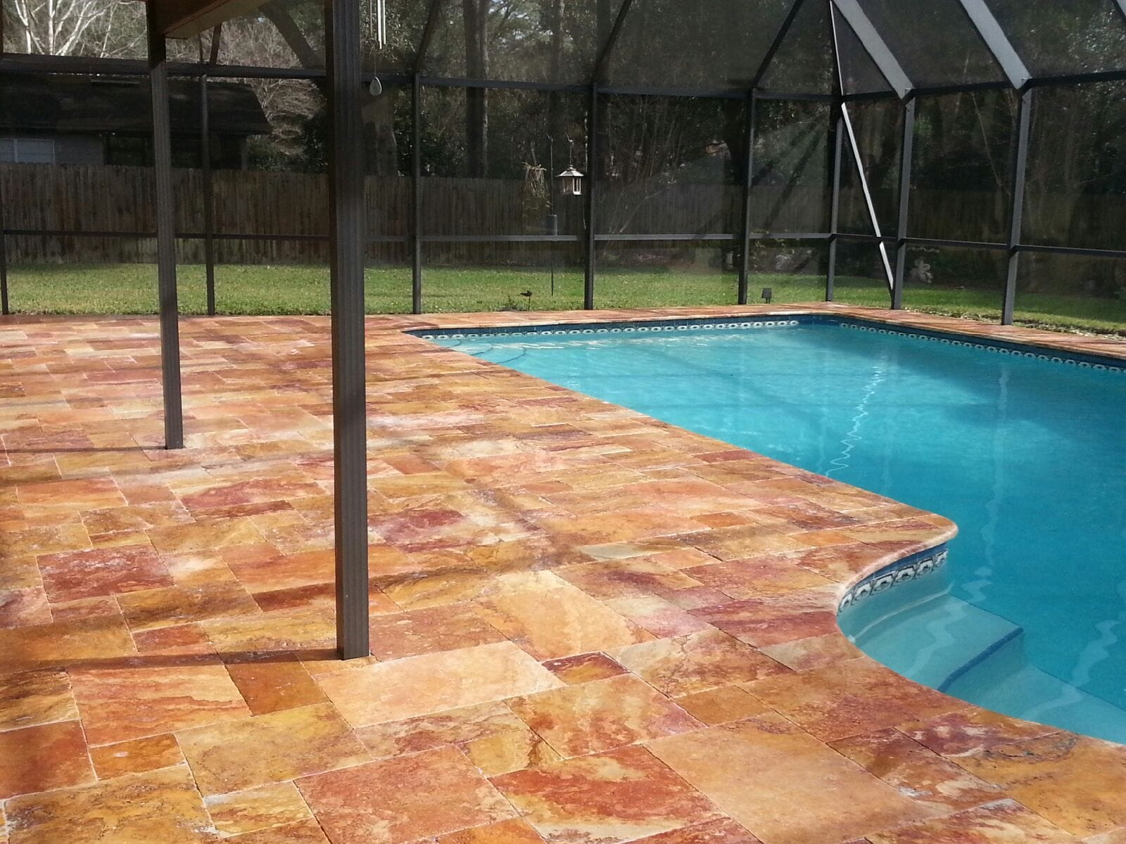 Travertine Pool Deck in Autumn Leaves