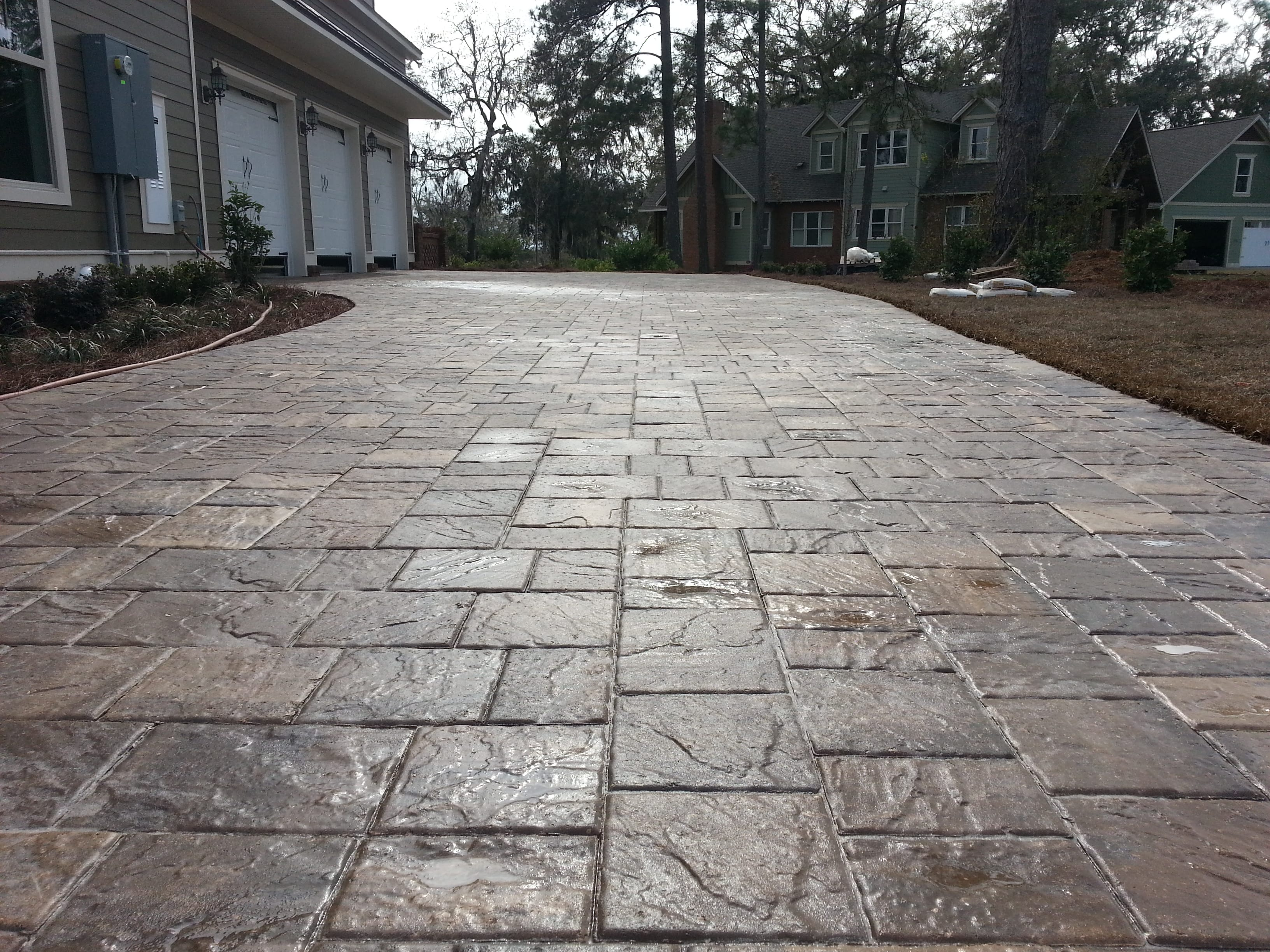 Concrete Paver Driveway Close-up