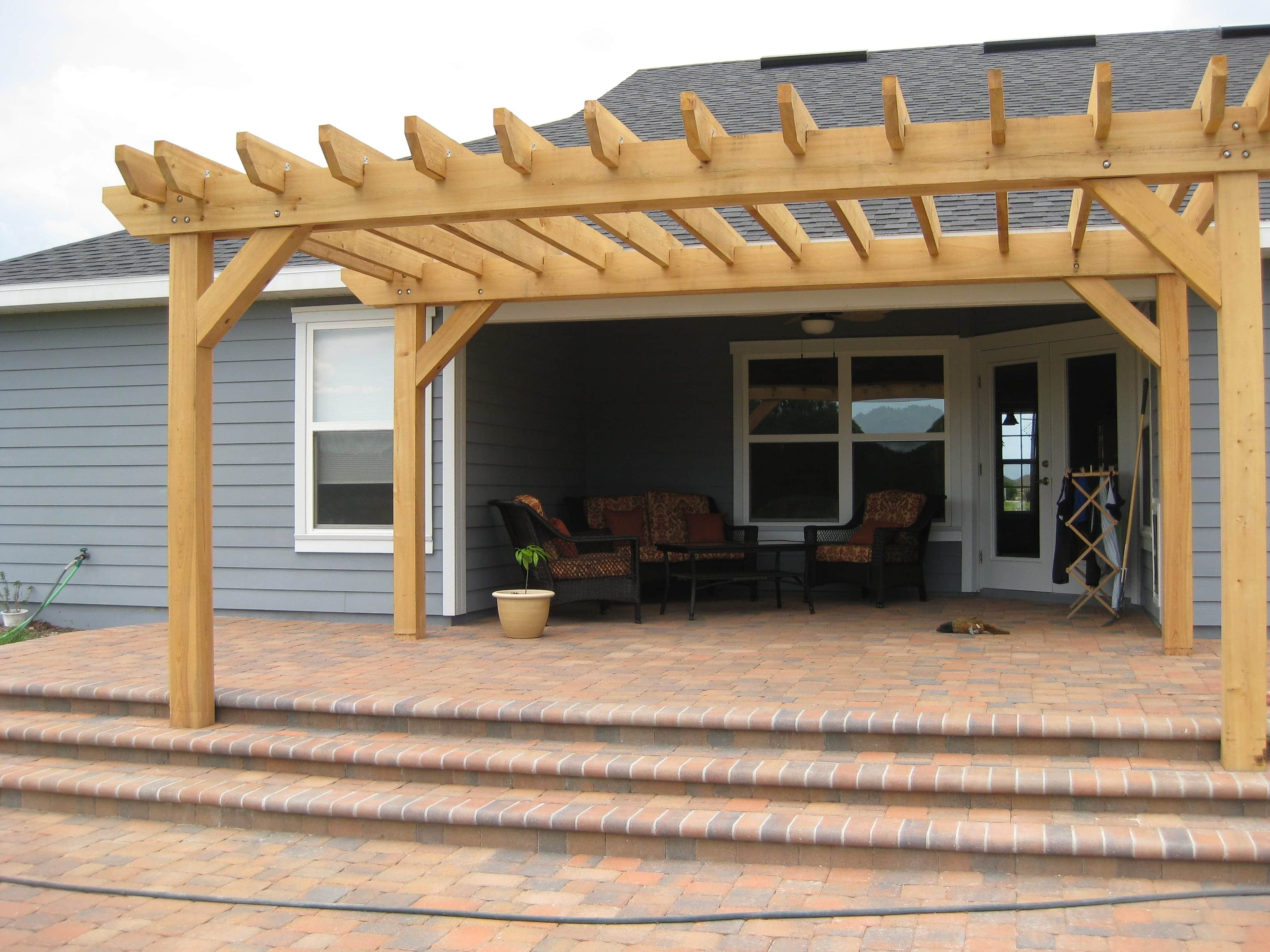 Concrete Paver Patio and Pine Pergola