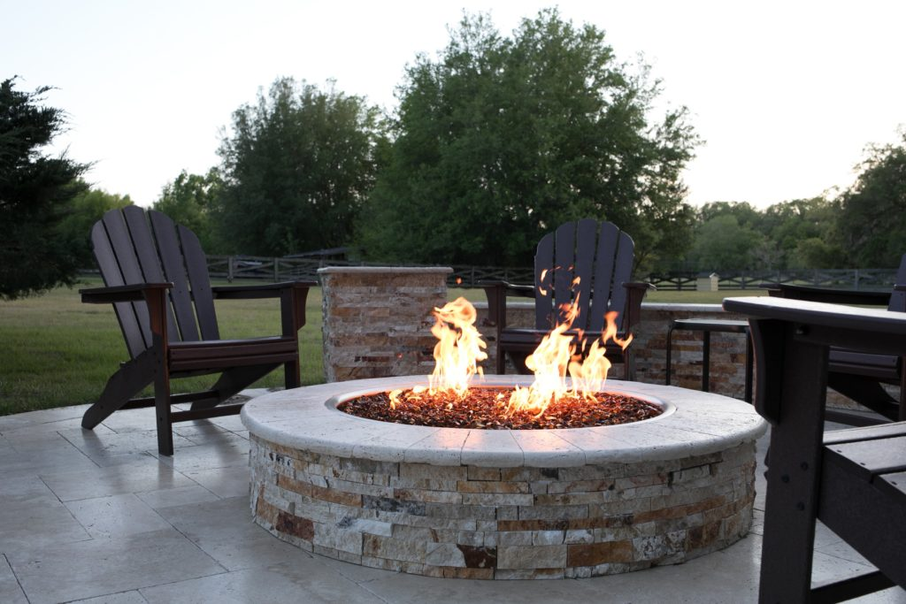 Travertine Patio And Glass Fire Pit Floridascapes
