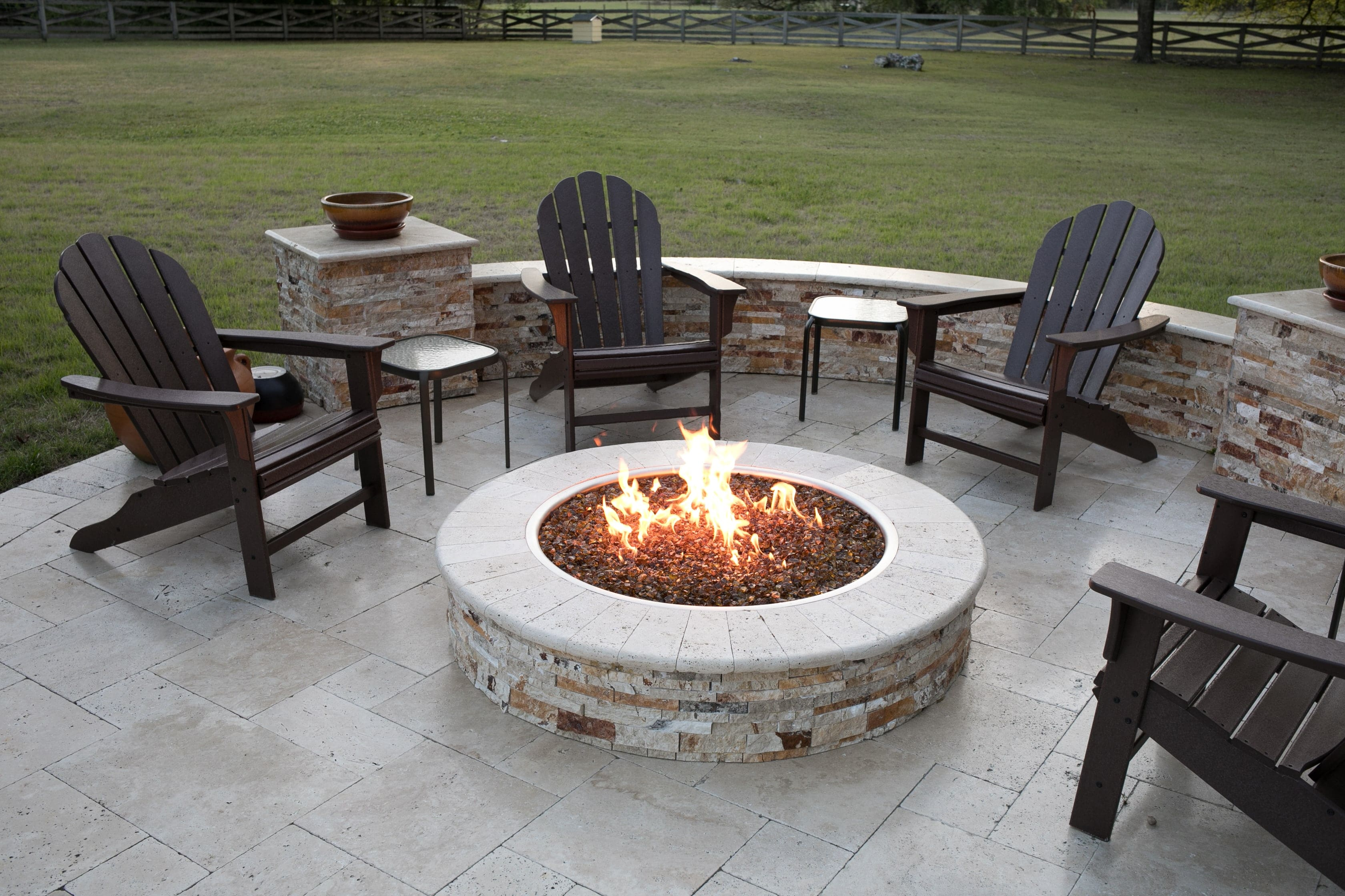 Travertine Paver Patio with Stone Veneer