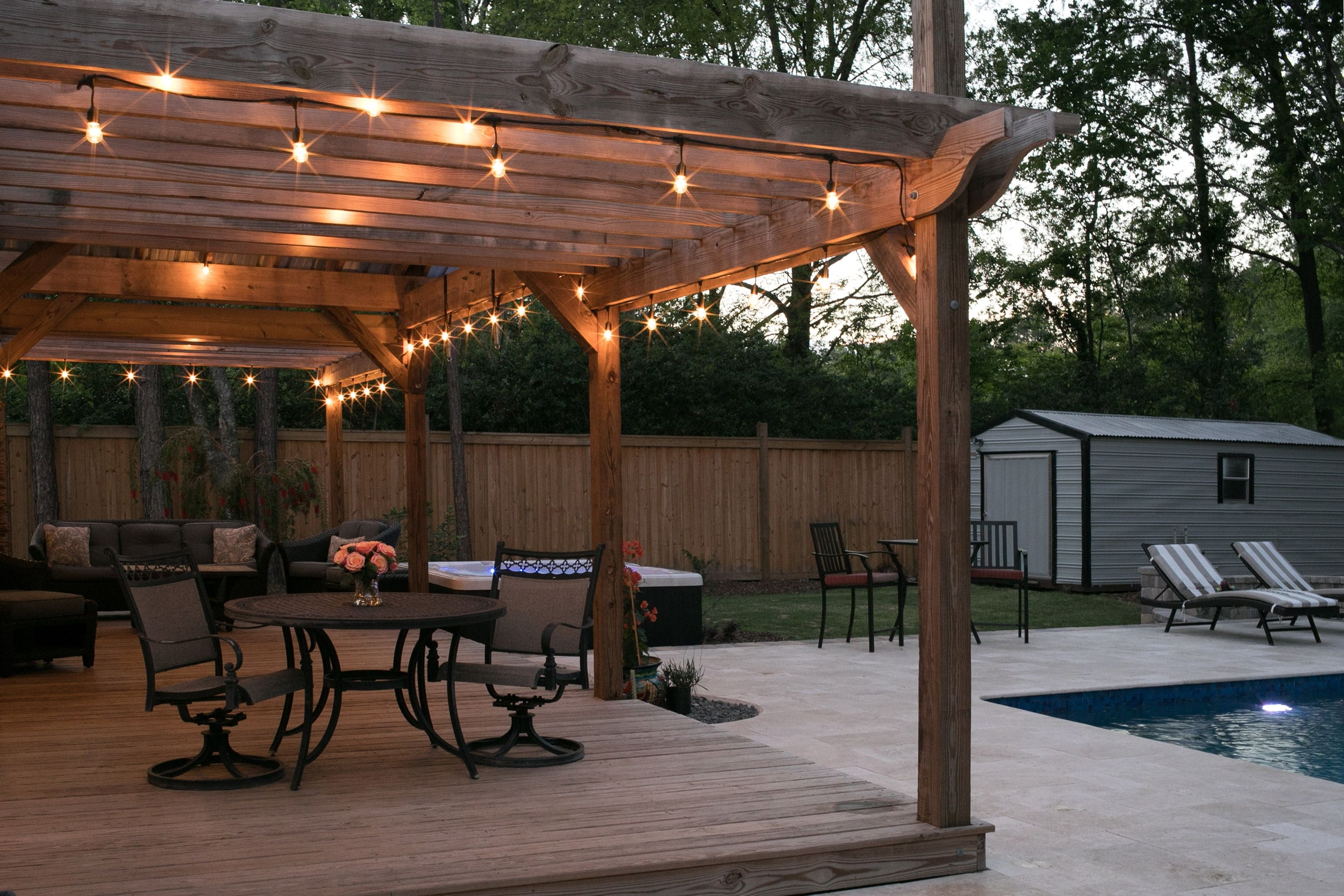 Travertine Paver Pool Deck & Pergola
